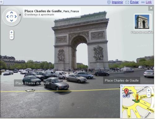 Arco do Triunfo pelo visualisador de rua do Google Maps